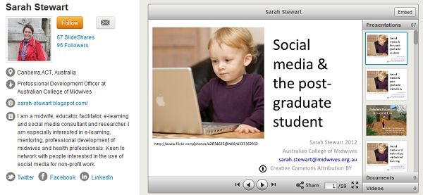 Sarah Stewart's profile page on Slideshare