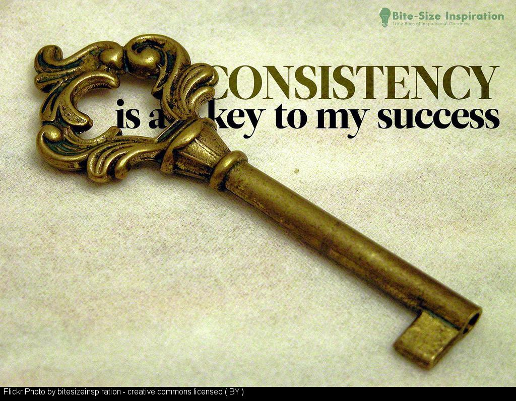 a key placed ove r the words 'consistenct is a key to my success'