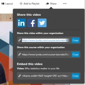 share button on lynda.com