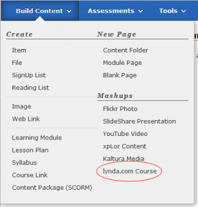Build Content menu in Blackboartd with lynda.com item highlighted