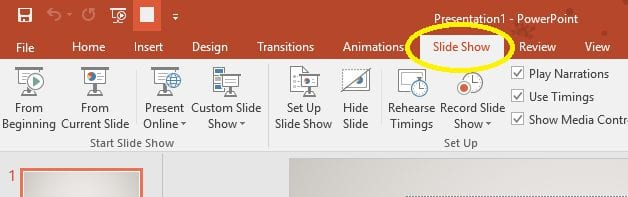 Screenshot showing the location of the Slide Show tab