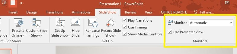 Screenshot showing location of Use Presenter View option