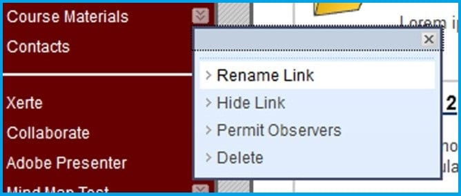 Option for rename link shown in the main menu