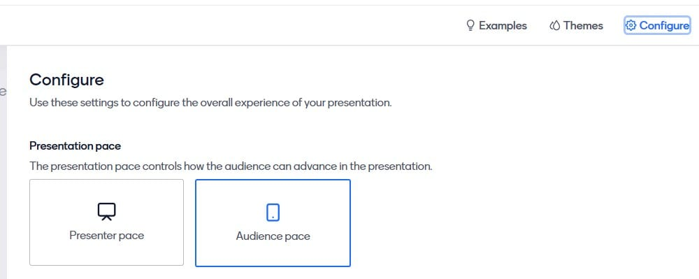 image of how to configure presentation pace