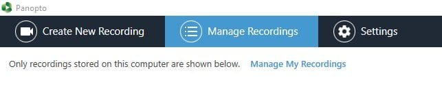 Screenshot of Manage Recordings tab