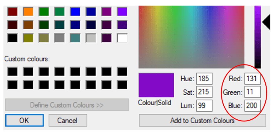 Screenshot of RGB values on the colour picker