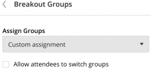 Screenshot of Assign Groups drowdown