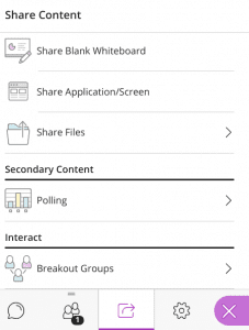 Screenshot of Share Content menu