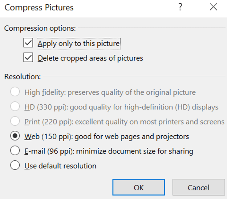 Screenshot of Compress Picture options