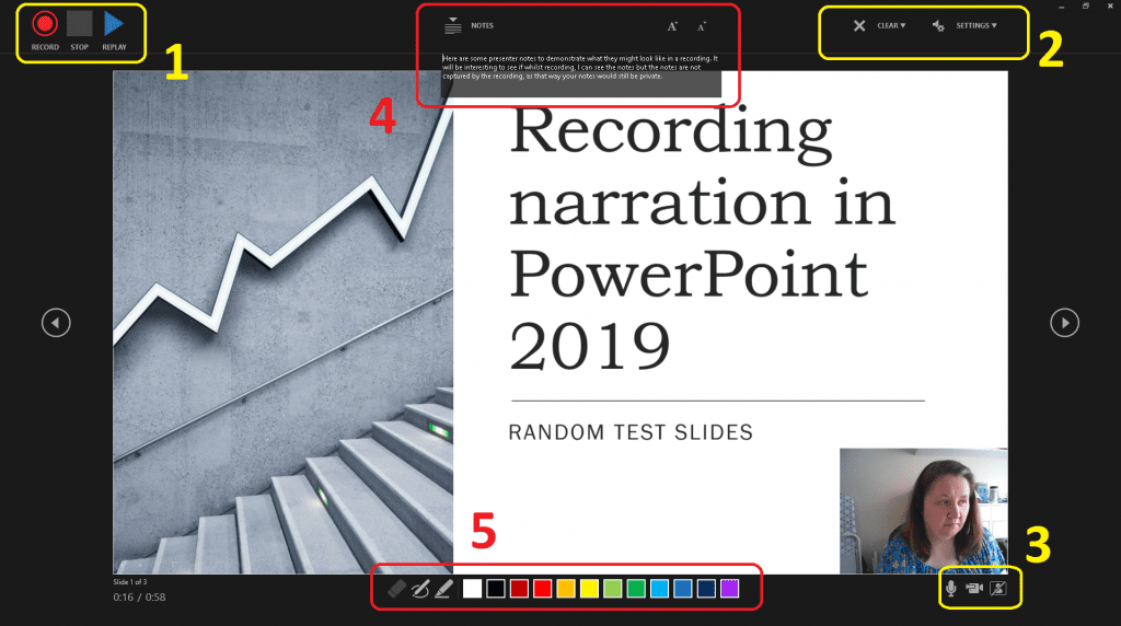 Screenshot of PowerPoint narration screen