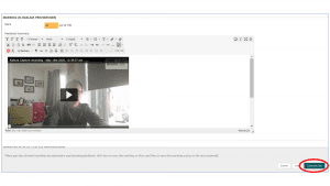 screenshot of kaltura video in content editor with save and exit button highlighted