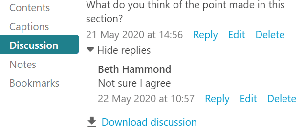 Screenshot of a discussion comment and reply