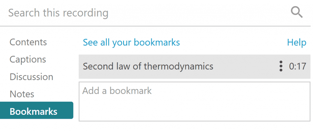 Screenshot of the side menu for bookmarks, notes and discussions