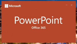 Screenshot of launch screen which says Office 365 under the title PowerPoint