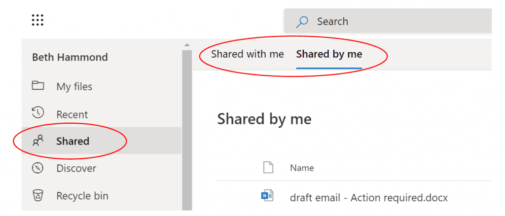 Screenshot of Shared Files tabs