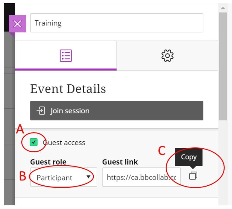 Screenshot of Event Details tab