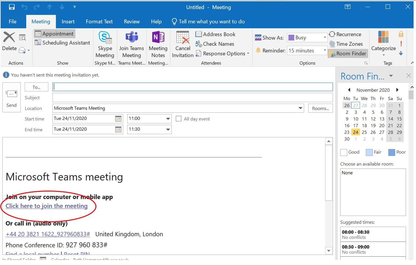 Screenshot of the meeting link