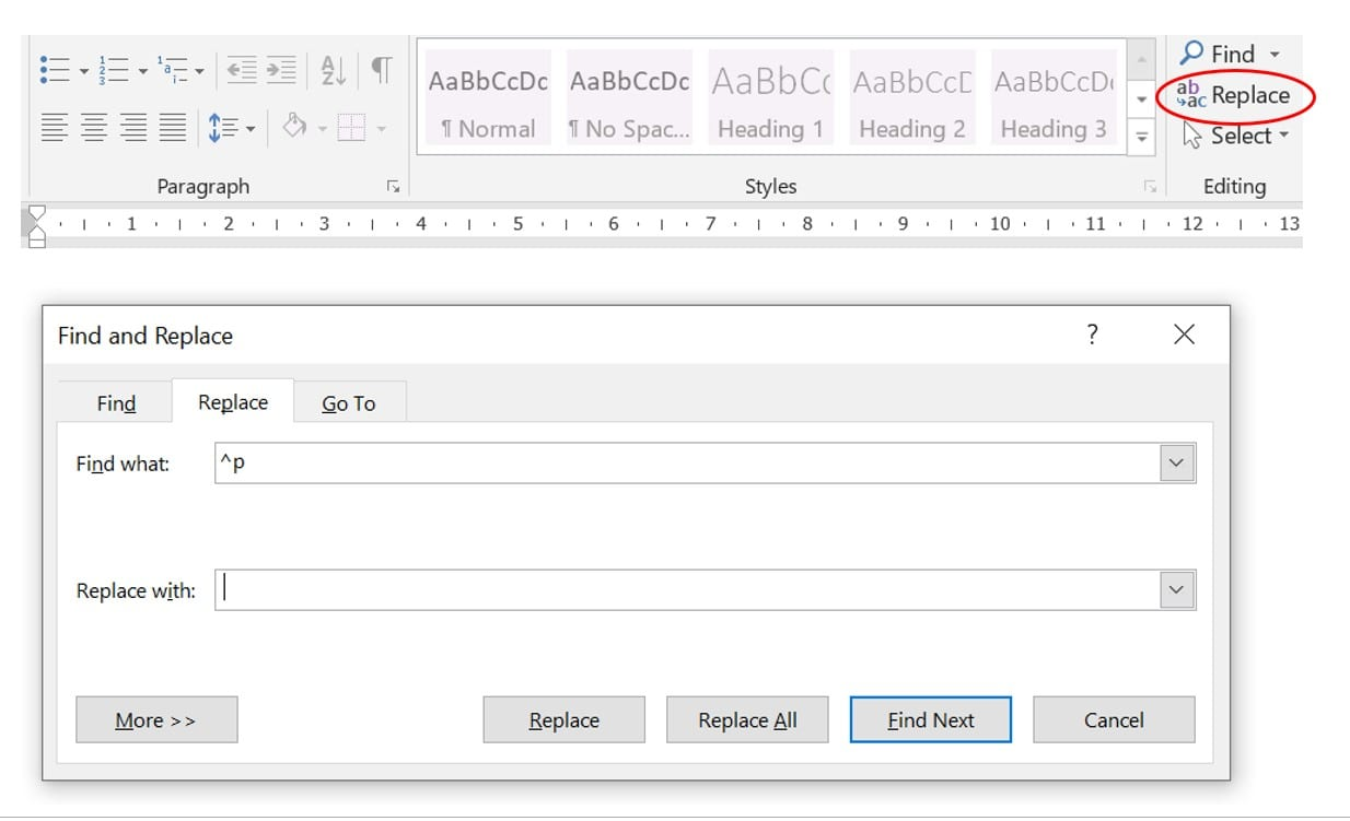 Screenshot of Replace options in Word