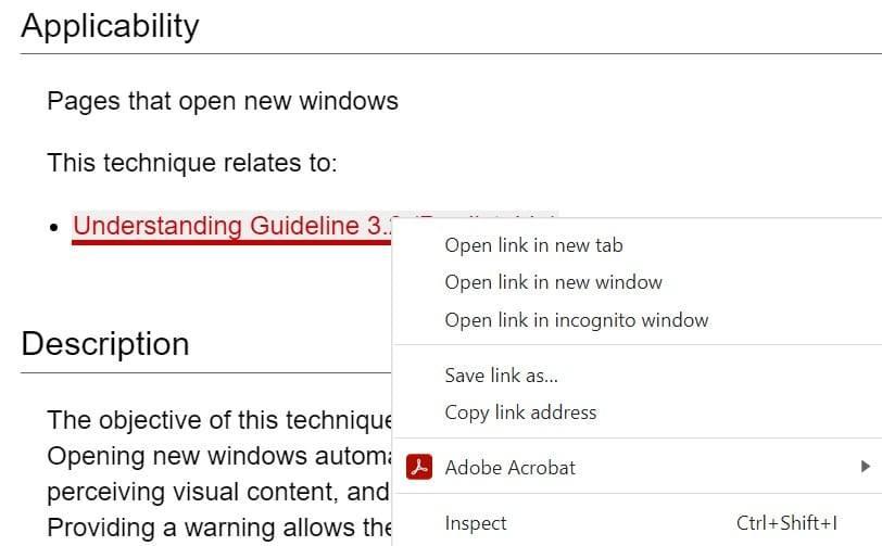 Screenshot of options for opening a link