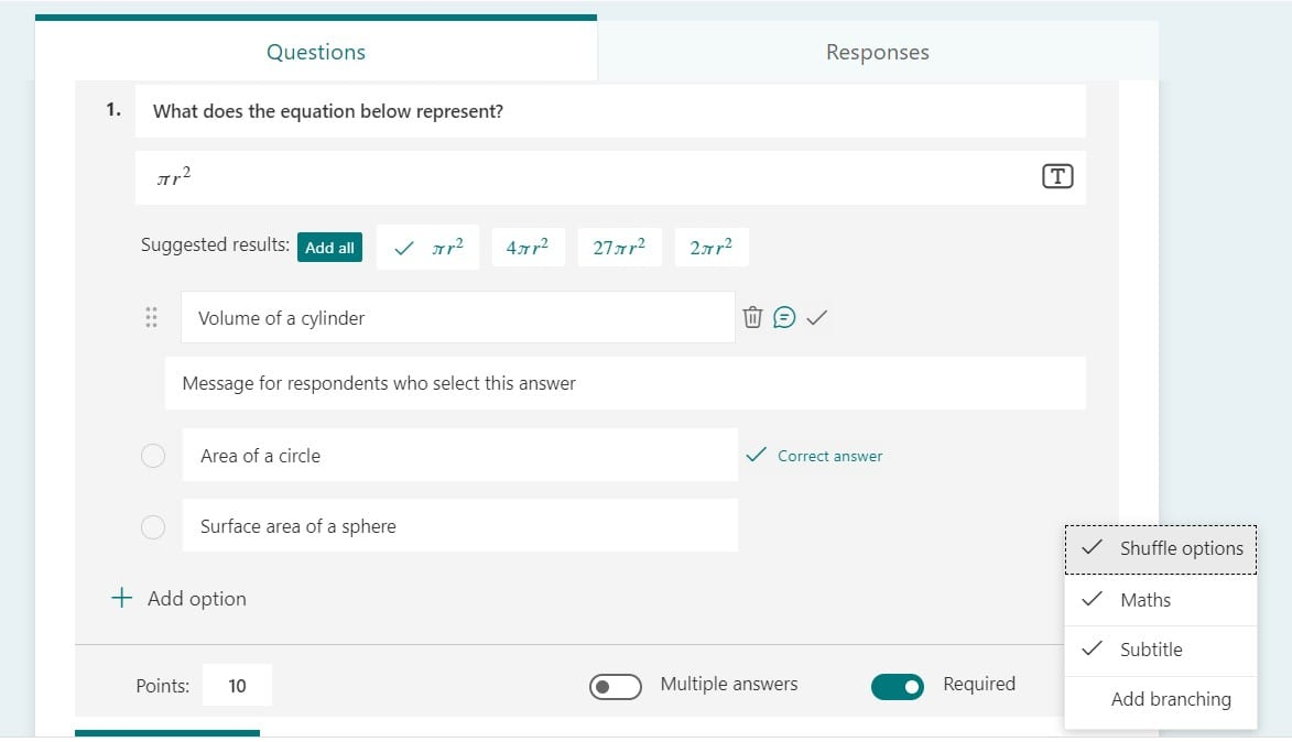 Screenshot of some options available for a Quiz question