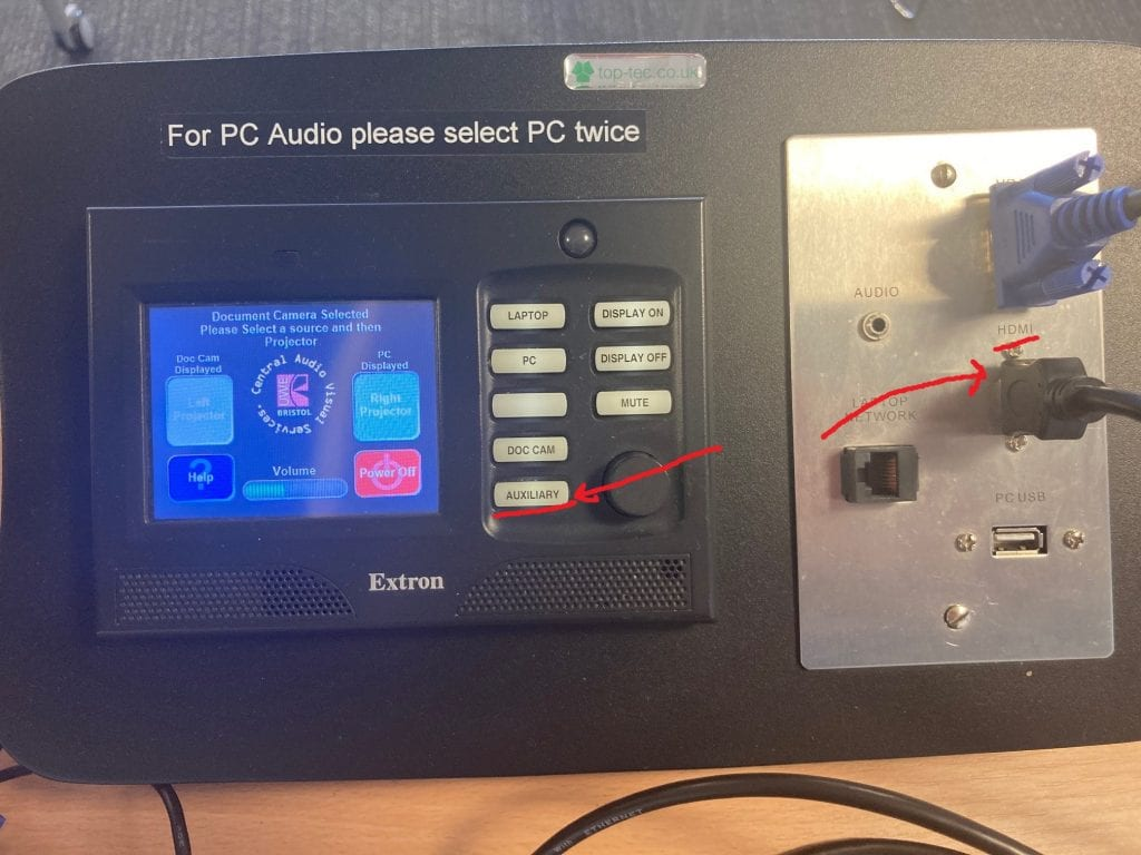laptop settings on the extron control box
