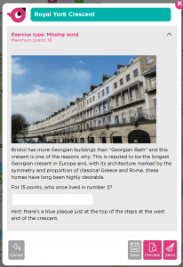 a missing word exercise about Royal York Crescent