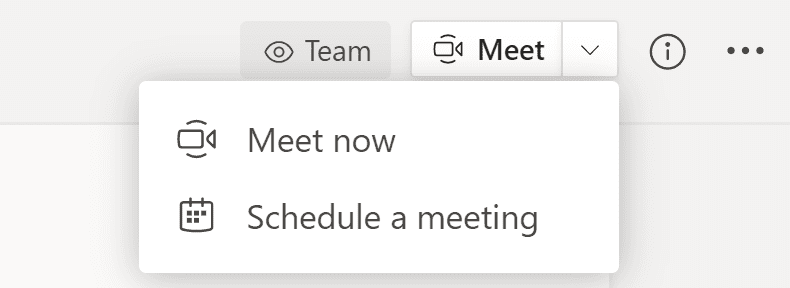 Screenshot: Two meeting options from within a Team Site